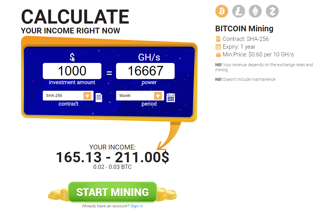 How to calculate bitcoin profit with HashFlare calculator